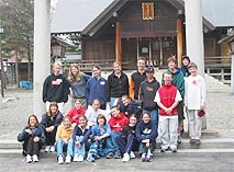 A group shot in front of a Shinto Shrine in Furano